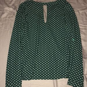Green polka dots blouse